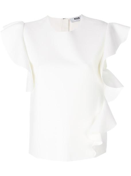 MSGM blouse ruffle women spandex white top