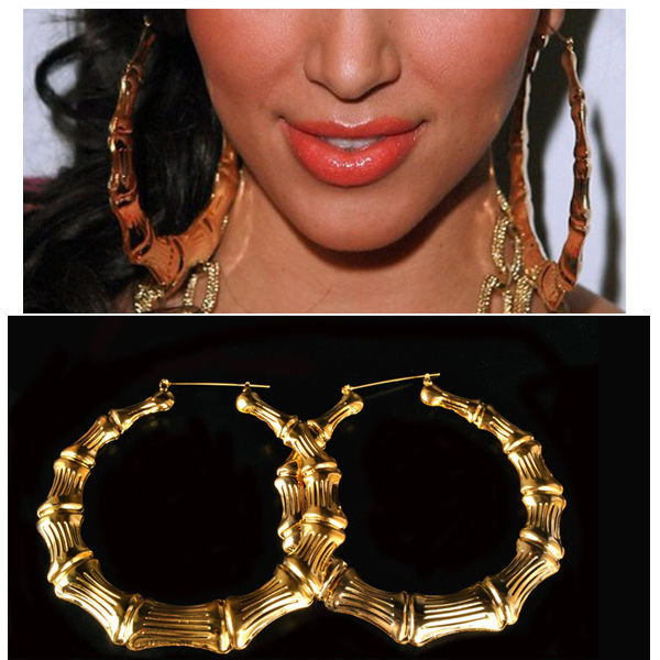 Europe style exaggerated cool gold tone bamboo big hoop circle earrings party