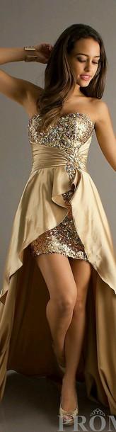dress gold high low dress