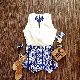 shorts blue white white shirt blue jewels fashion chic chic outfils shirt blue shorts jewels outfit outfils style top shoes blouse