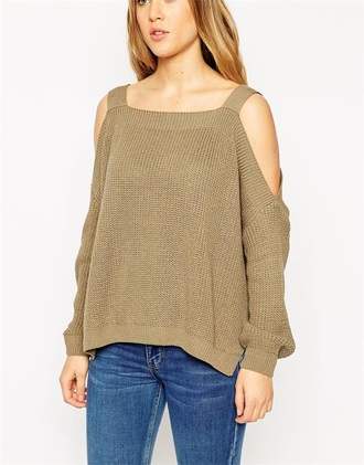 sweater women off the shoulder loose knit sweater light brown sweater off the shoulder knitweaer loose long sleeves fall outfits women girl new