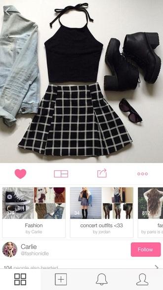 skirt skater skirt black grid clothes shoes