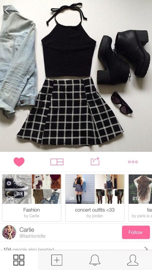 skirt skater skirt skirt black grid clothes shoes grid skirt grid