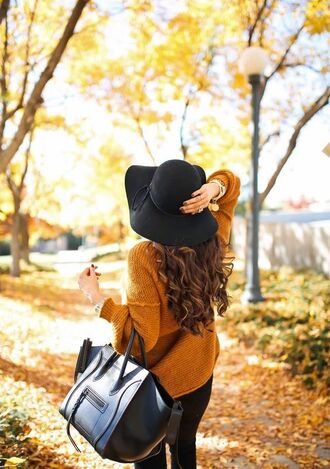 sweater tumblr mustard mustard sweater bag black bag hat black hat