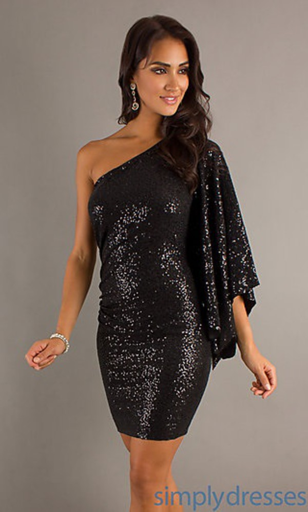 Buy cheap Short Black Sequin One Sleeve Dress by Hailey Logan with ...