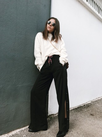 pants tumblr black pants side slit wide-leg pants sweater knit knitwear knitted sweater sunglasses