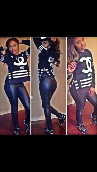 shirt chanel inspired chanel top chanel t-shirt chanel chanel shoes sneakers black leather shirt instafashion number 5 swag dope fashion zipper tank blackbarbie sportswear jersey summer outfits trendsetter blouse