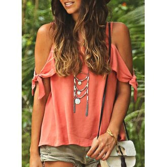 top off the shoulder orange trendy fashion style hot girly summer beach rose wholesale-jan coral