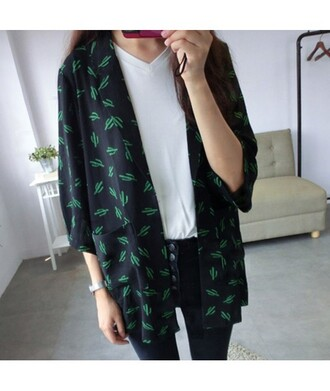 cardigan kimono cool black green trendy fashion style it girl shop