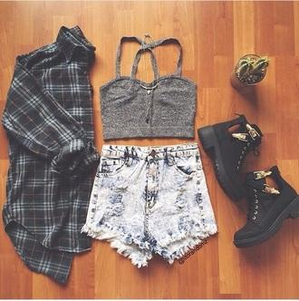blouse shoes crop tops shorts shirt