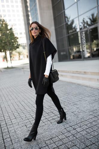 coat tu tumblr black coat cape tights opaque tights boots black boots bag black bag gloves leather gloves sunglasses top white top