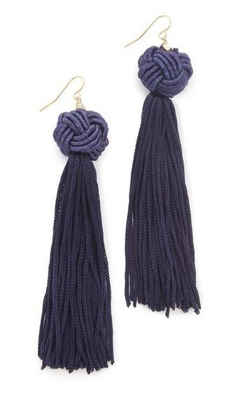 tassel earrings navy jewels