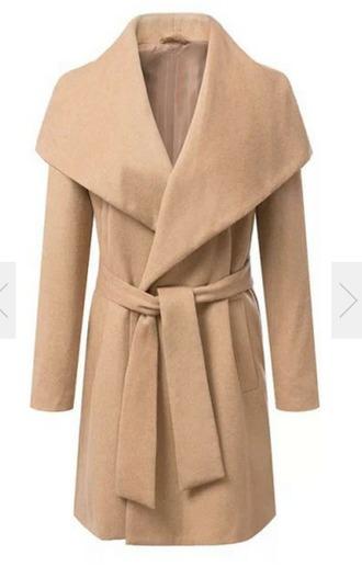 longline tie khaki camel trench coat maxi coat