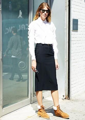 skirt black skirt tumblr tumblr outfit brown boots white shirt shirt topshop topshop skirt nordstrom midi skirt