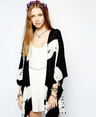 black and white boho chiffon hippie kimono tie dye cardigan