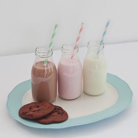 Mini glass milk bottles 250ml (6 pack)