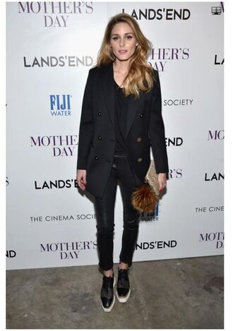 shoes top olivia palermo blogger coat jeans spring outfits all black everything blazer