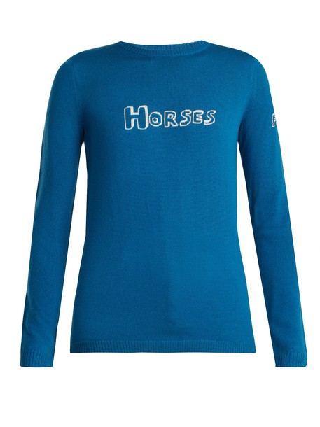 Bella Freud sweater wool sweater wool blue