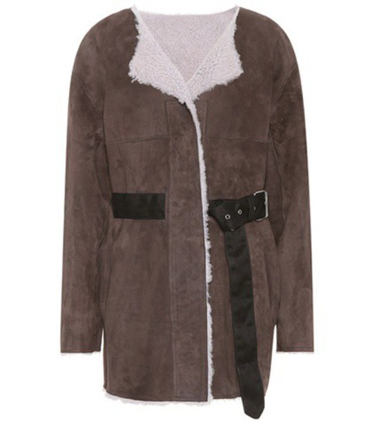 Isabel Marant Arsene shearling-lined suede jacket in brown