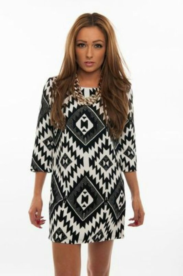 dress aztec tribal pattern aztec dress monochrome