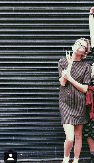 dress vertical lines brown dress
