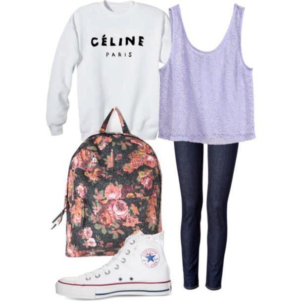 sweater ariana grande top jeans flowers bag purple sweater converse oversized sweater tank top