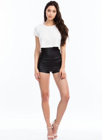 bottoms hot pants shorts High waisted shorts fold over waist faux leather