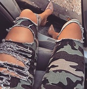 pants,ripped jeans,camouflage,camo pants,ripped