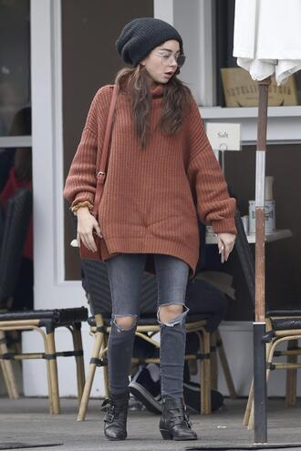 sweater fall outfits beanie sarah hyland ankle boots jeans denim ripped jeans streetstyle