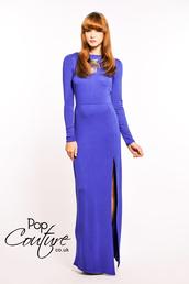 dress,maxi dress,side split maxidress,side split,long sleeve dress,blue dress,blue maxi dress,cobalt,royal blue,Pop Couture