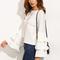 Blusa escote redondo volantes manga larga - blanco-spanish shein(sheinside)
