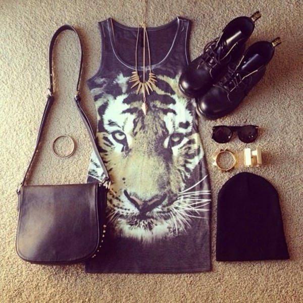 bag dress jewels shoes sunglasses hat