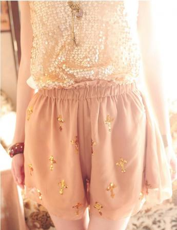Fashion Shiny Sequins Cross Pattern Chiffon Skirt Divided Culottes Pants Shorts | eBay