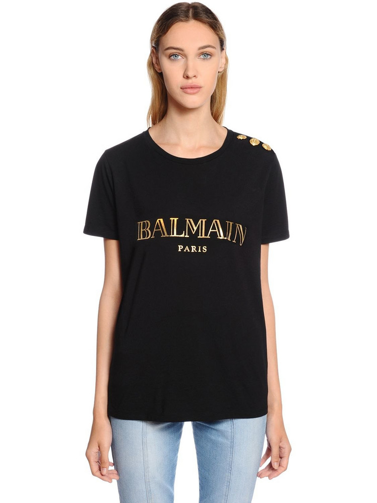 BALMAIN Metallic Logo Cotton Jersey T-shirt in black