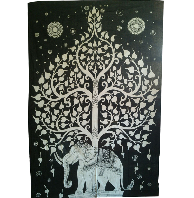 Elephant with Tree of Life Wall Hanging Indian Tapestry