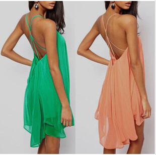 Free shipping 2014 Summer Women Sexy Spaghetti Strap Dresses Halter Backless Beach Dress Vestidos Mini women Dress 3 Color | Amazing Shoes UK