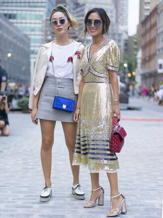 dress dani and aimee song sequins sequin dress metallic midi dress blogger streetstyle ny fashion week 2016 sandals skirt song of style tommy hilfiger glitter dress gold dress v neck dress roses holiday dress