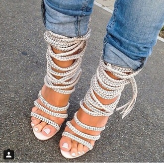 shoes heels lace up white high heels beautiful