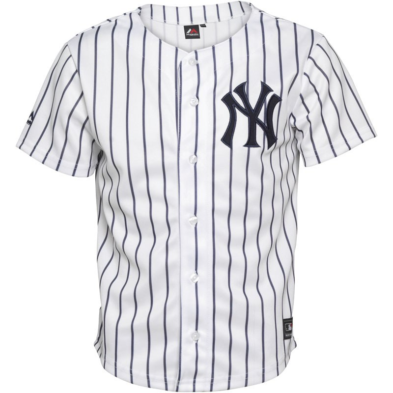 Buy Majestic Athletic Junior New York Yankees Stripe Jersey White/Navy at MandM Direct