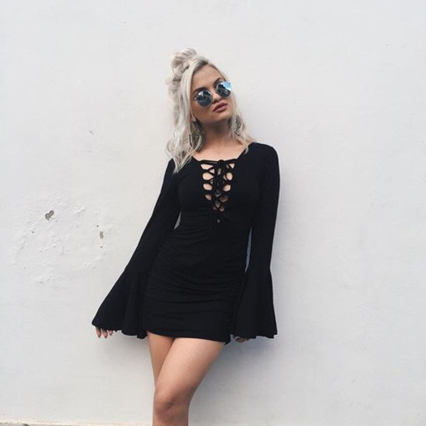 d54c80486b5 dress black dress bell sleeves mini dress long sleeve dress black lace up  lace up dress