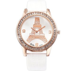 Amazon.com: dalas white fashion rose gold case crystal eiffel tower lady women quartz wrist watch waa539: watches
