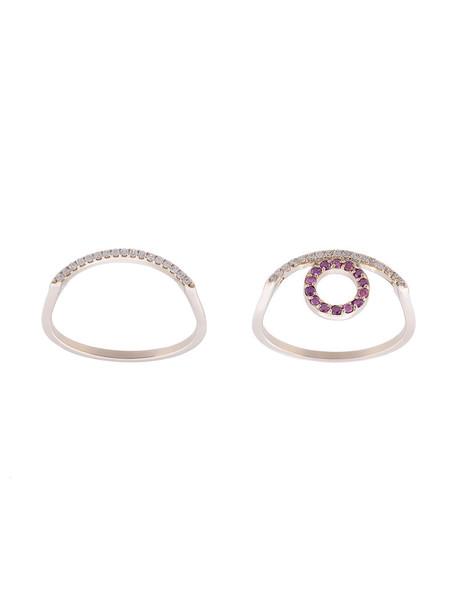 Kwit Jewelry women ring gold white grey metallic jewels