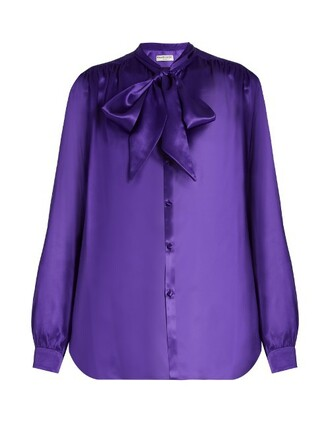 blouse silk satin purple top