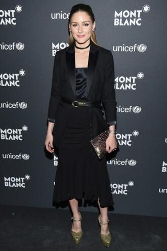 skirt midi skirt black olivia palermo pumps top blazer choker necklace blogger