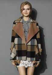 chicwish,back to earth check print coat,drape coat,fashion and chic