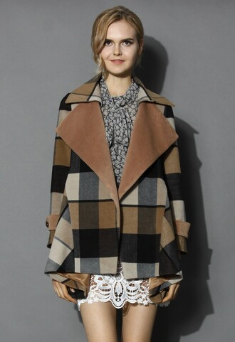 chicwish back to earth check print coat drape coat fashion and chic
