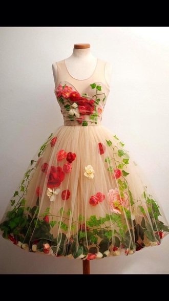 dress floral designer floral dress flowers green beige red prom graduation sweetheart neckline princess chiffon prom dress midi dress tulle dress garden dress