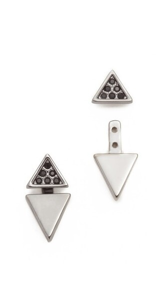 triangle earrings black jewels
