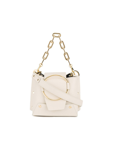 mini women bag bucket bag leather nude cream