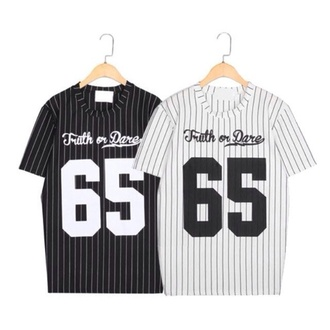 truth or dare stripes cotton t-shirt black and white jersey